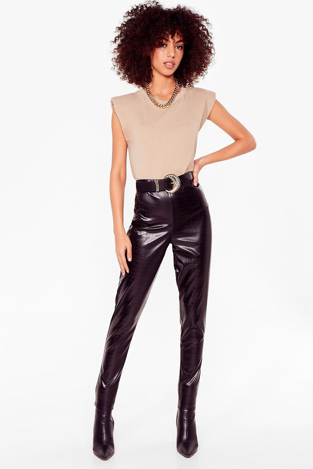 Image of Womens What the Croc Faux Leather Leggings - Black