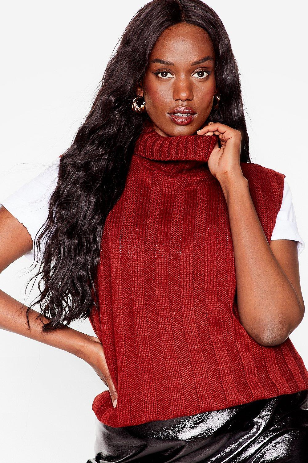 Image of Womens Knit's Our Pleasure Plus Cable Knit Tank Top - Burgundy