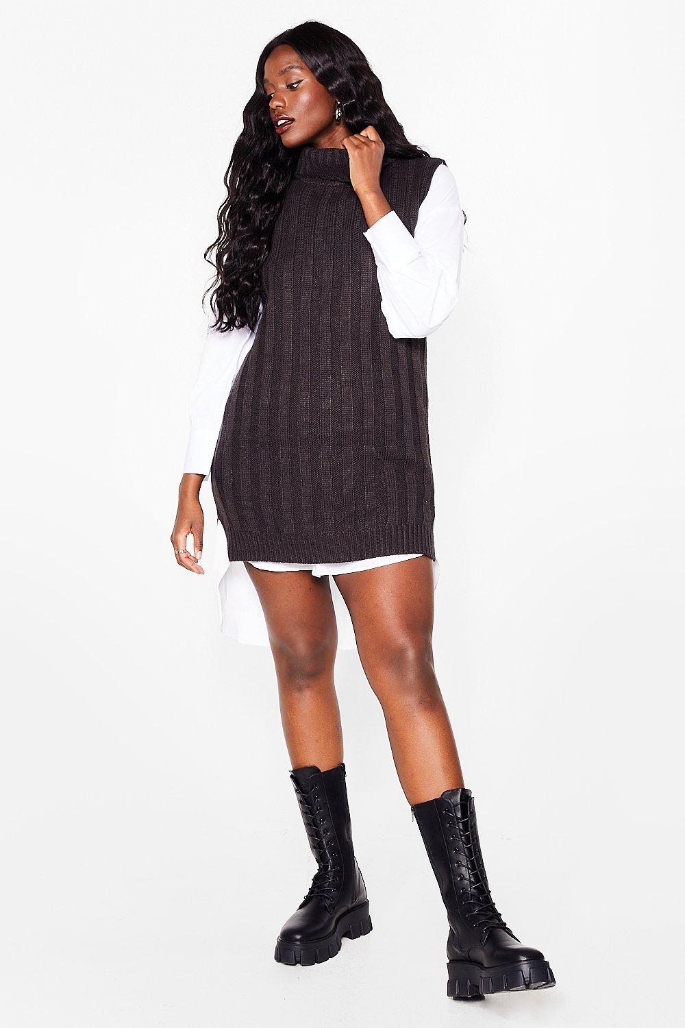 Image of Womens Knit's Our Pleasure Plus Cable Knit Tank Top - Charcoal