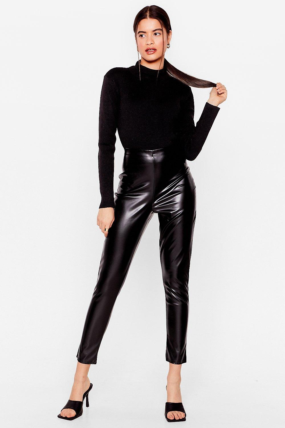Image of Womens In the Tight Direction Faux Leather Leggings - Black