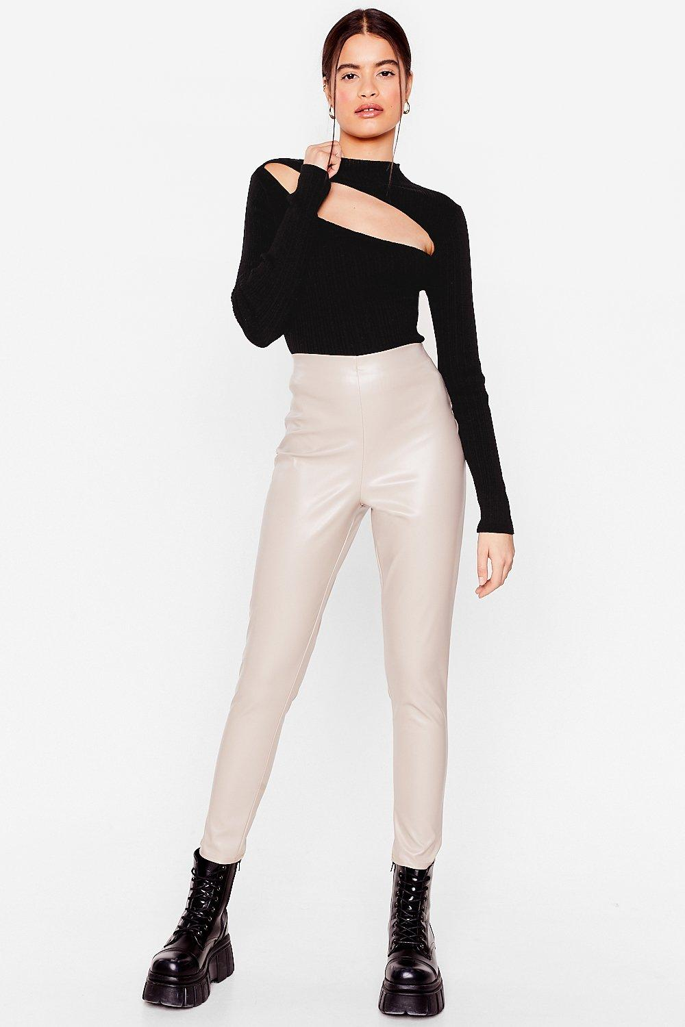 Image of Womens In the Tight Direction Faux Leather Leggings - Stone