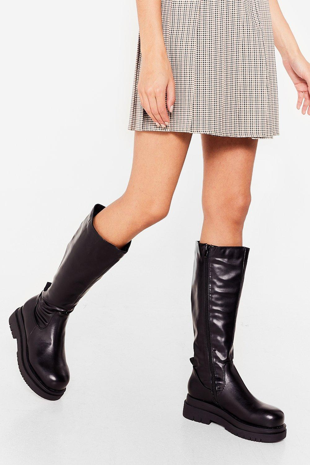 Image of Womens High Ground Chunky Knee High Boots - Black