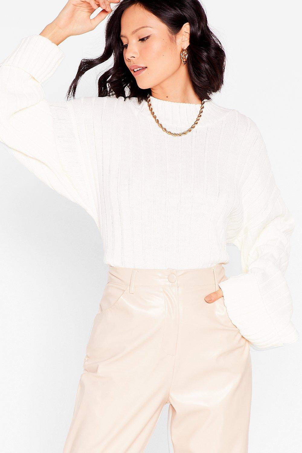 Image of Womens Keep Knit on the Down Low Ribbed Knit Sweater - Cream