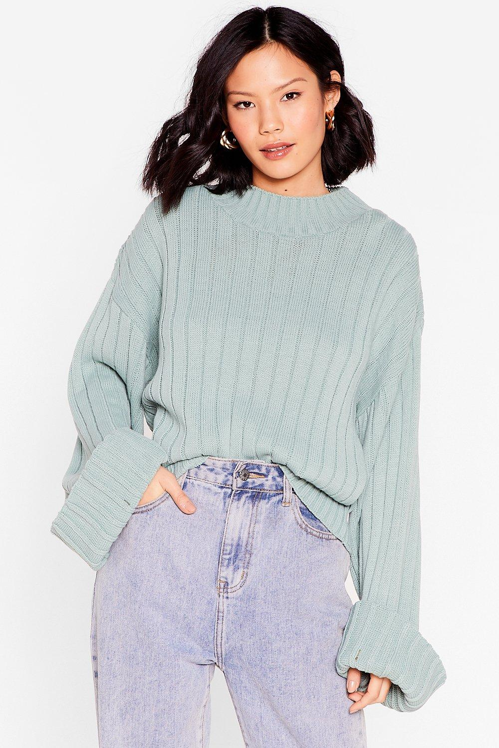Image of Womens Keep Knit on the Down Low Ribbed Knit Sweater - Sage