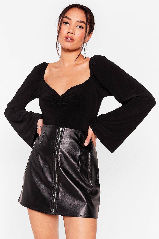 Image of Womens Slinking About Us Petite High-Leg Bodysuit - Black