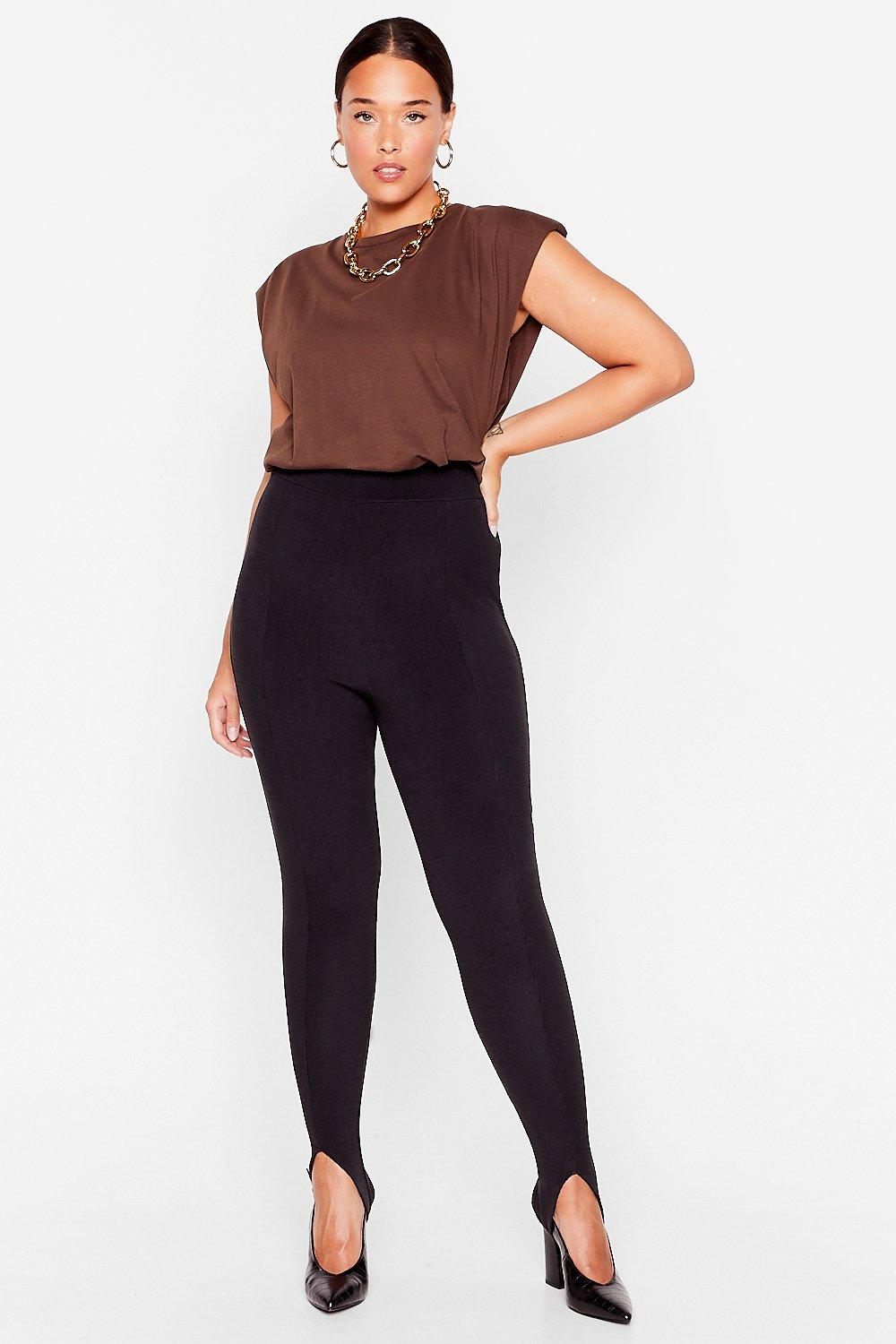 Image of Womens Stirrup to No Good Ribbed High-Waisted Leggings - Black
