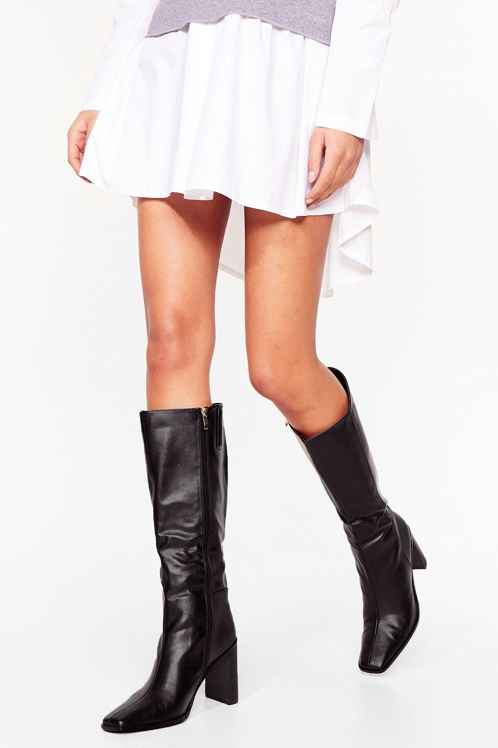 Image of Womens High Hopes Heeled Knee-High Boots - Black