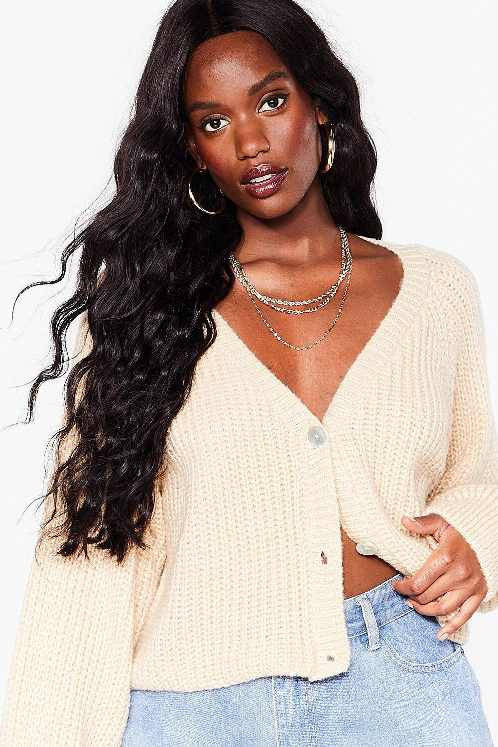 Image of Womens It's Gonna V Alright Plus Fluffy Knit Cardigan - Oatmeal