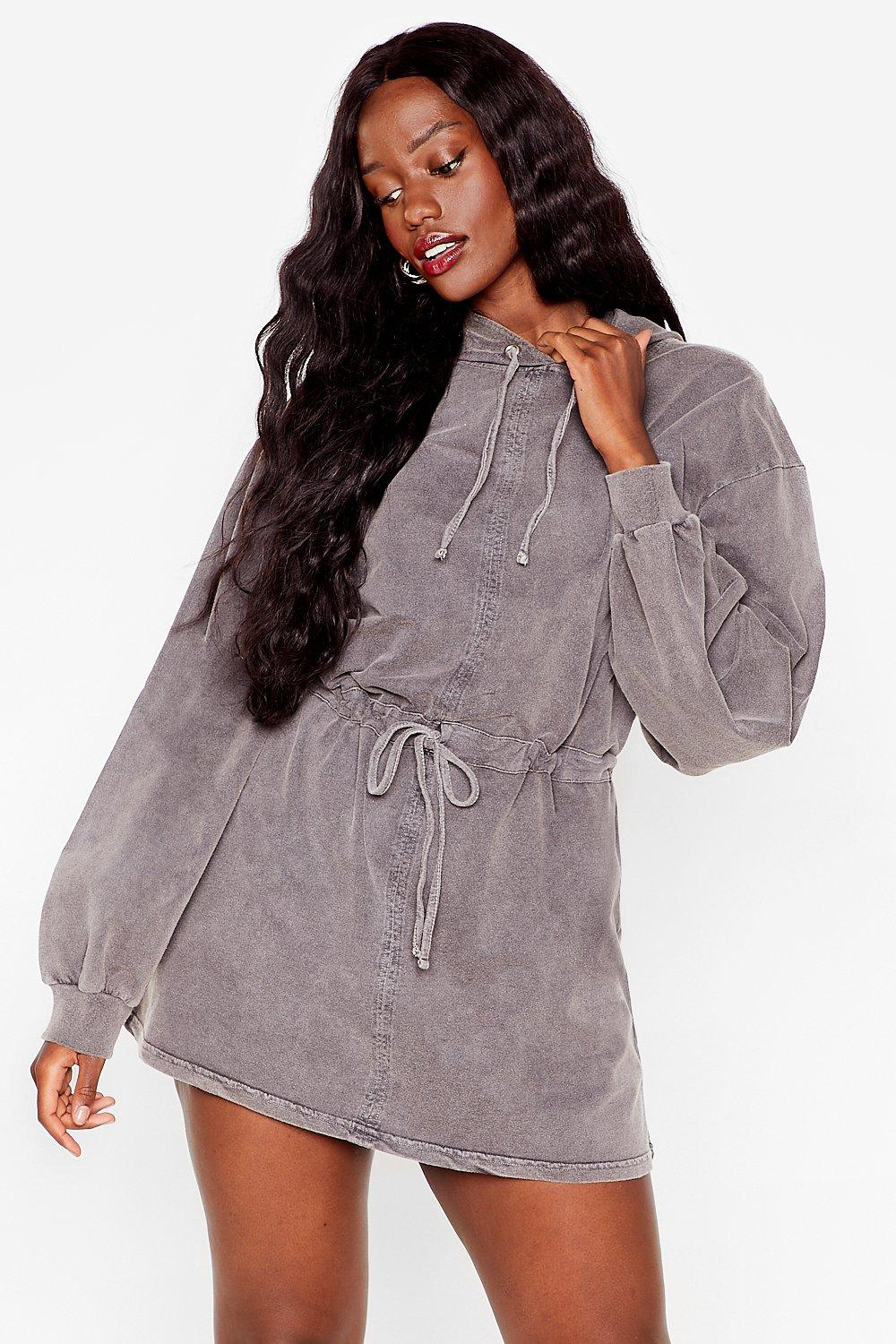 Image of Womens Acid Wash Your Tone Plus Hoodie Dress - Grey