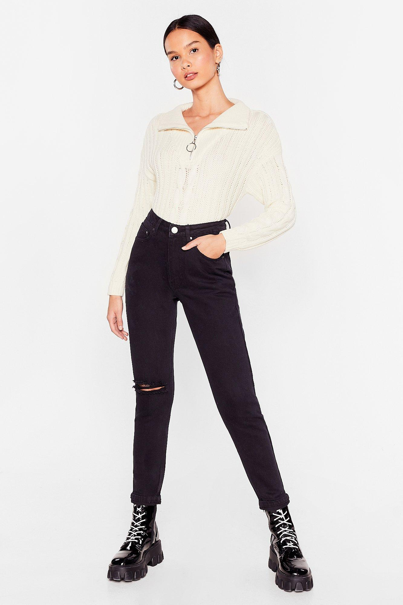 Image of Womens Shred That Waved Distressed Mom Jeans - Black
