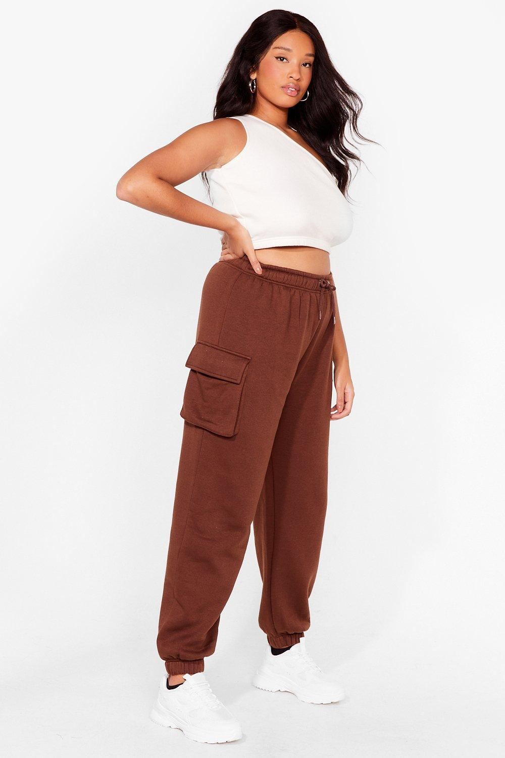 Image of Womens As Easy As That Plus High-Waisted Joggers - Chocolate
