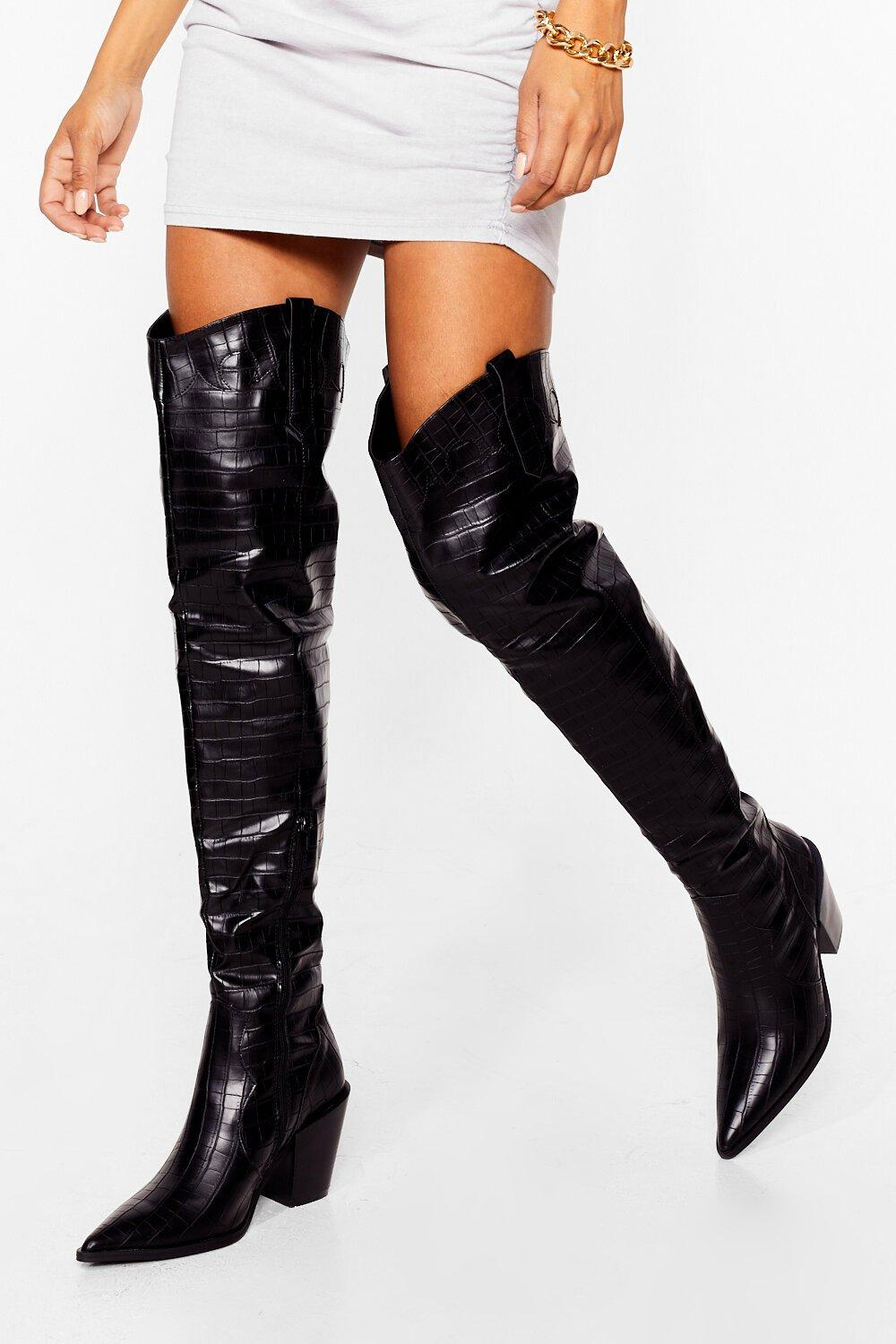 Image of Womens Way Up Thigh Western Thigh-High Boots - Black