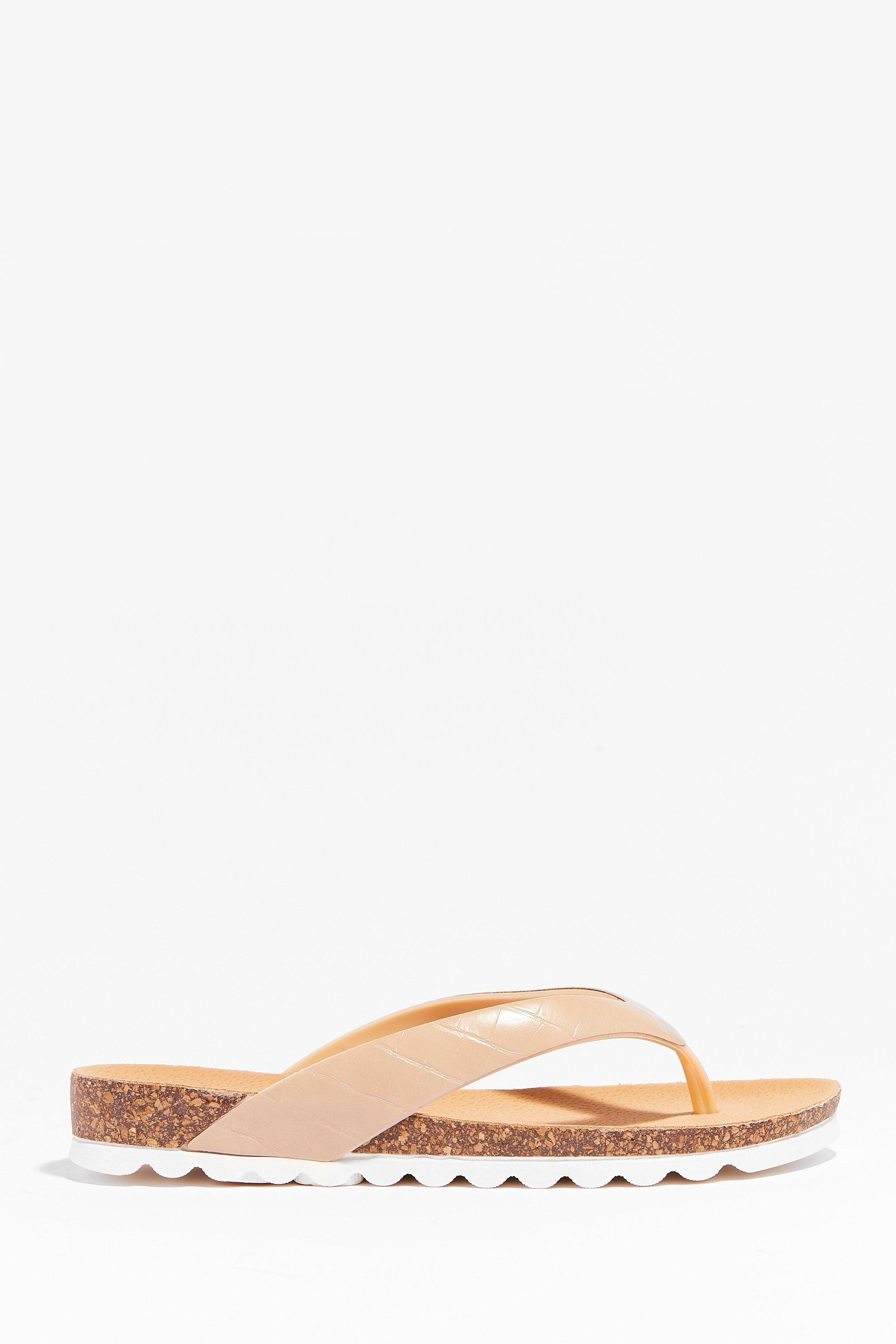Image of Womens Croc It Out Faux Leather Flat Sandals - Beige