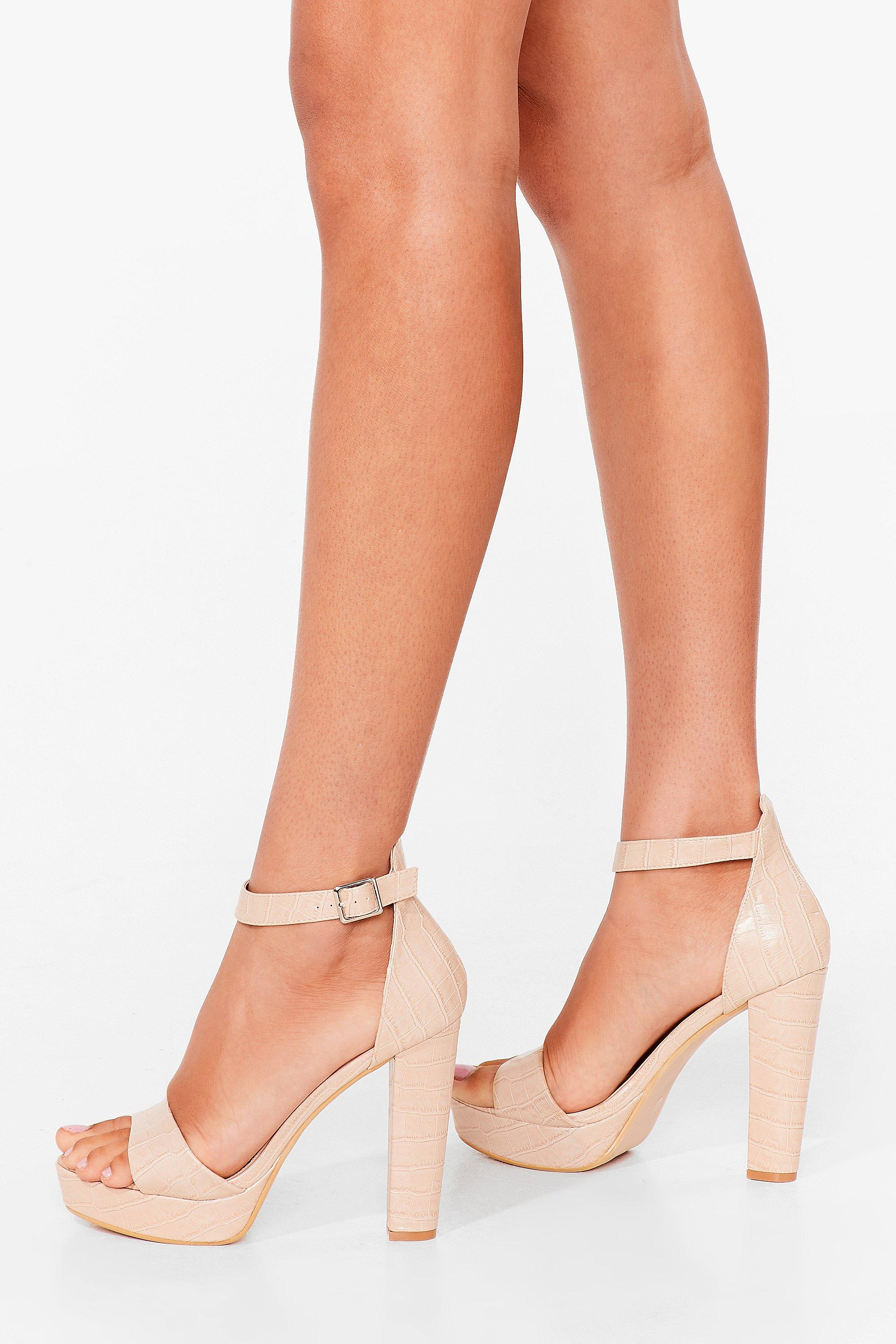 Image of Womens Crazy in Love Faux Leather Platform Heels - Beige