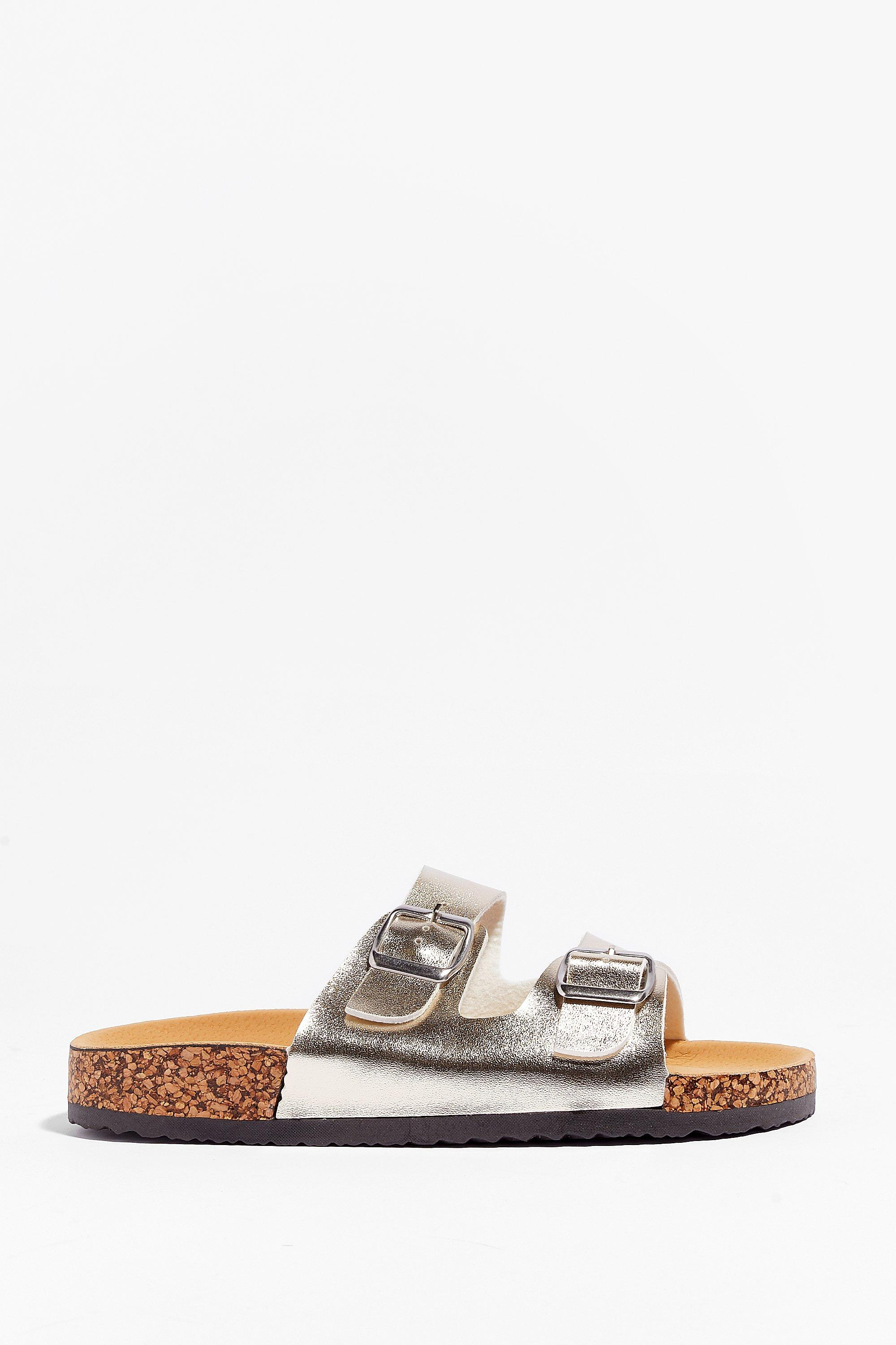 Image of Womens You're in Buckle Metallic Faux Leather Sandals - Gold
