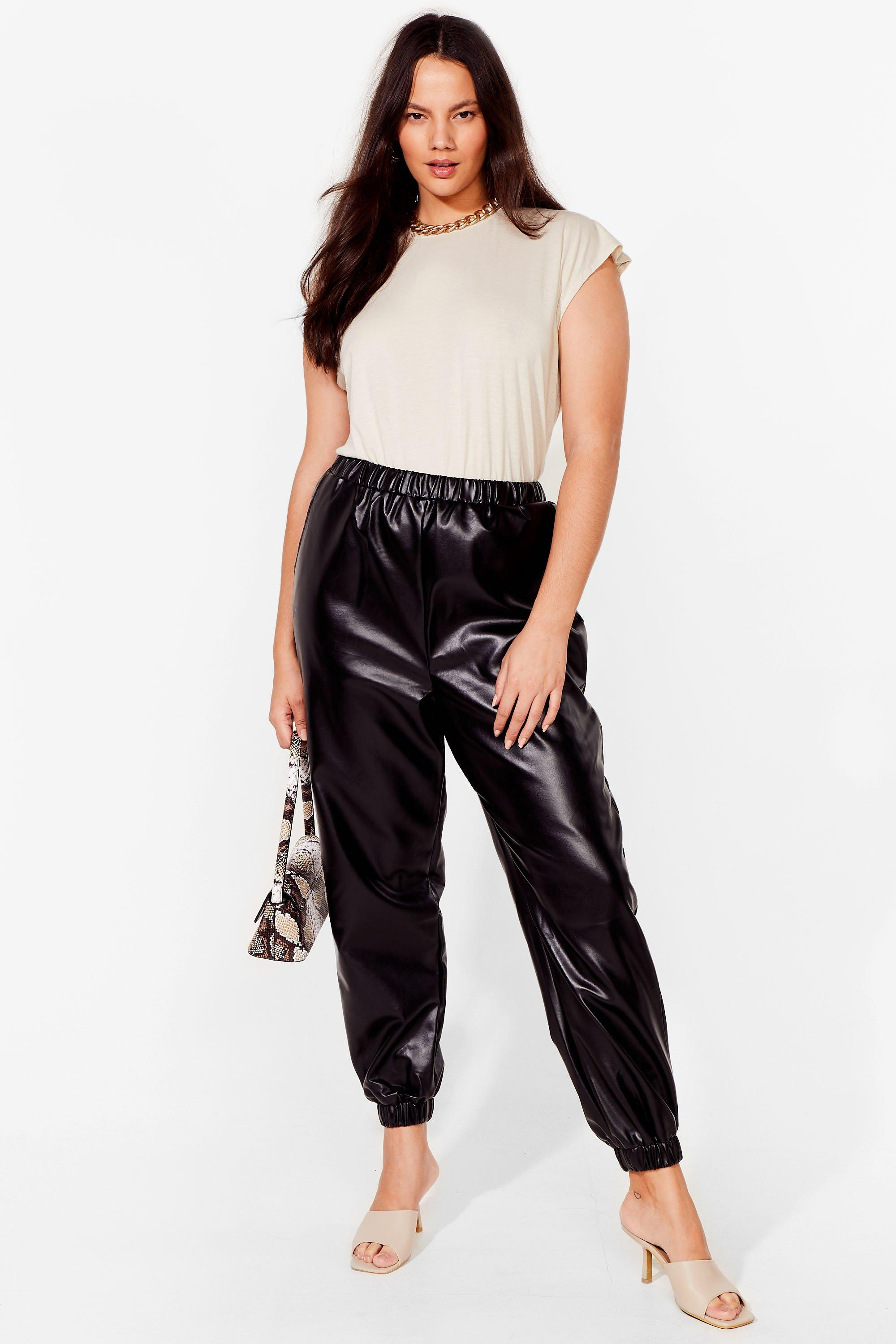 Image of Womens All I Faux Leather Wanted Plus Jogger Pants - Black