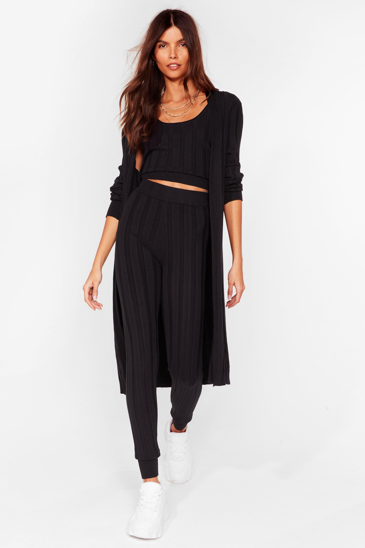 Image of Womens Knit It Off 3-Pc Lounge Set - Black