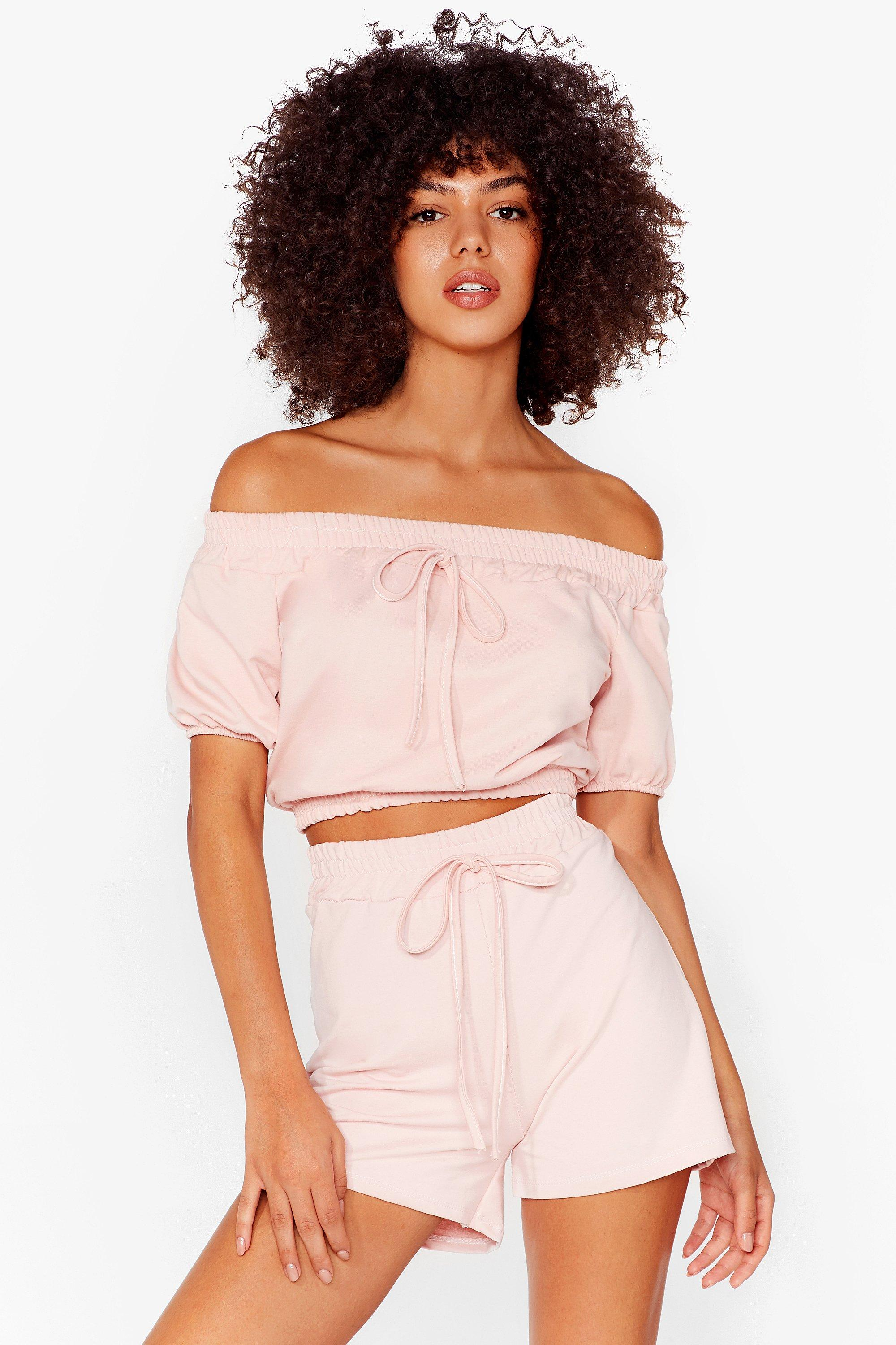 Image of Womens Day Off-the-Shoulder Crop Top and Shorts Set - Pink