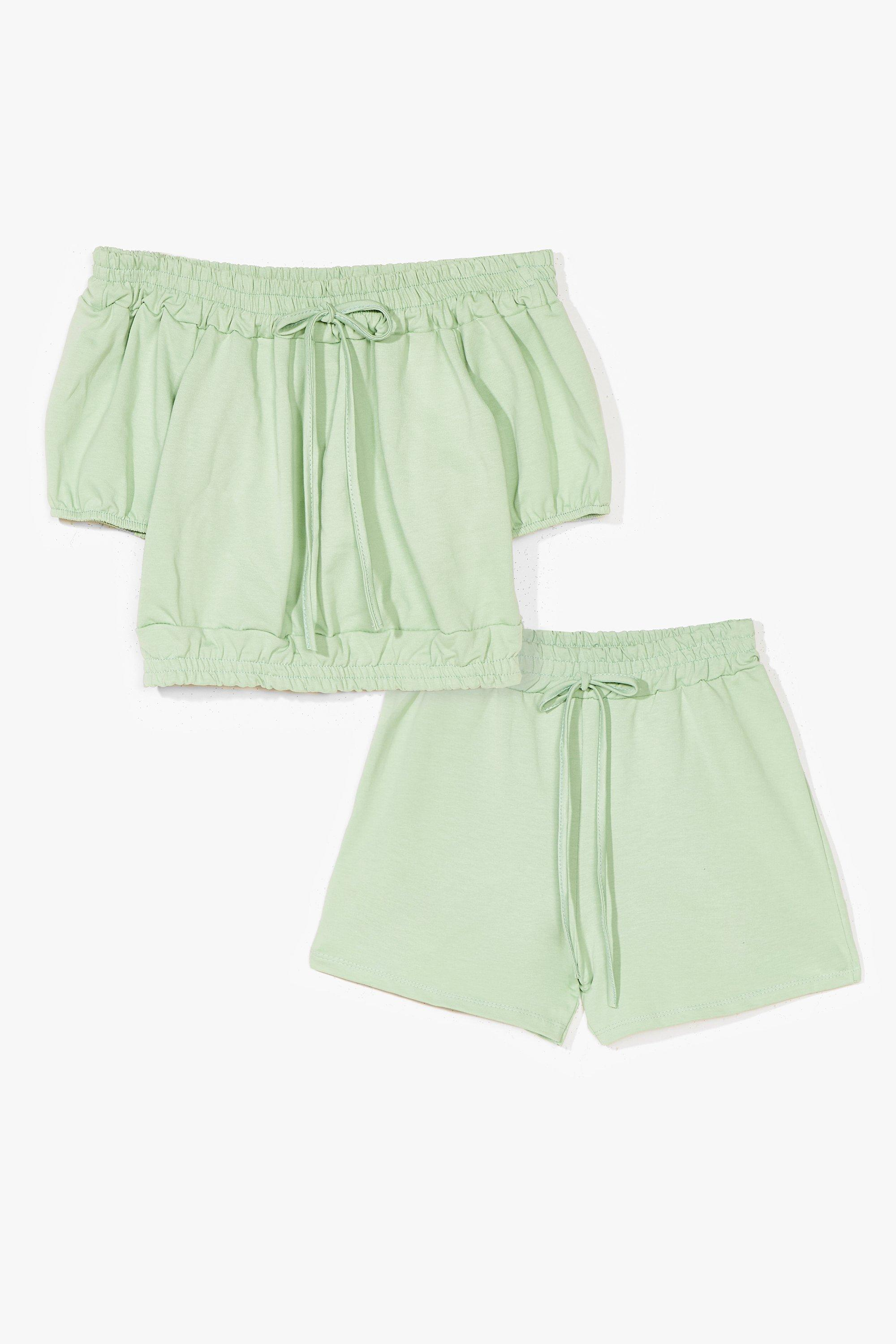 Image of Womens Day Off-the-Shoulder Crop Top and Shorts Set - Sage