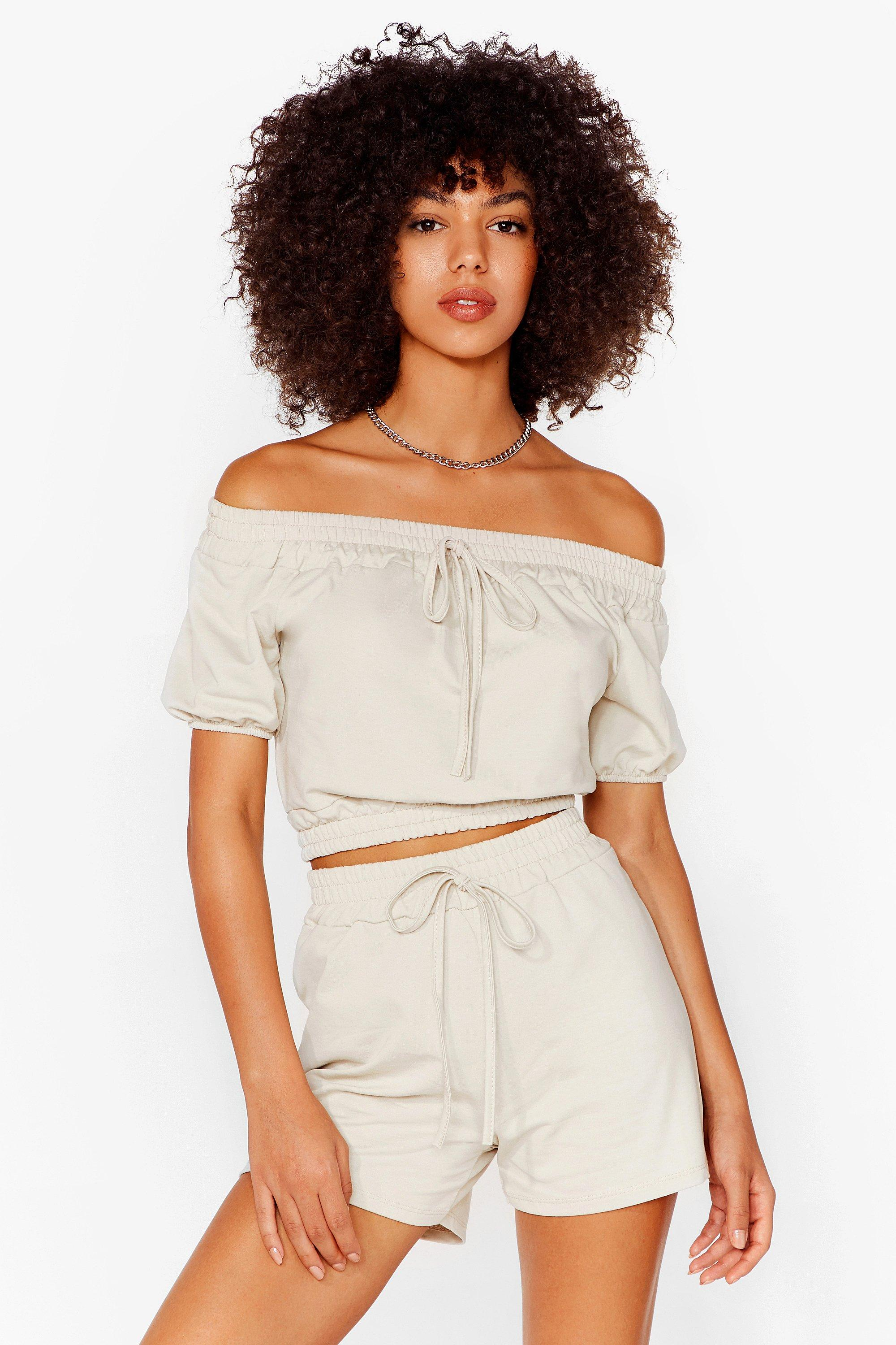 Image of Womens Day Off-the-Shoulder Crop Top and Shorts Set - Stone