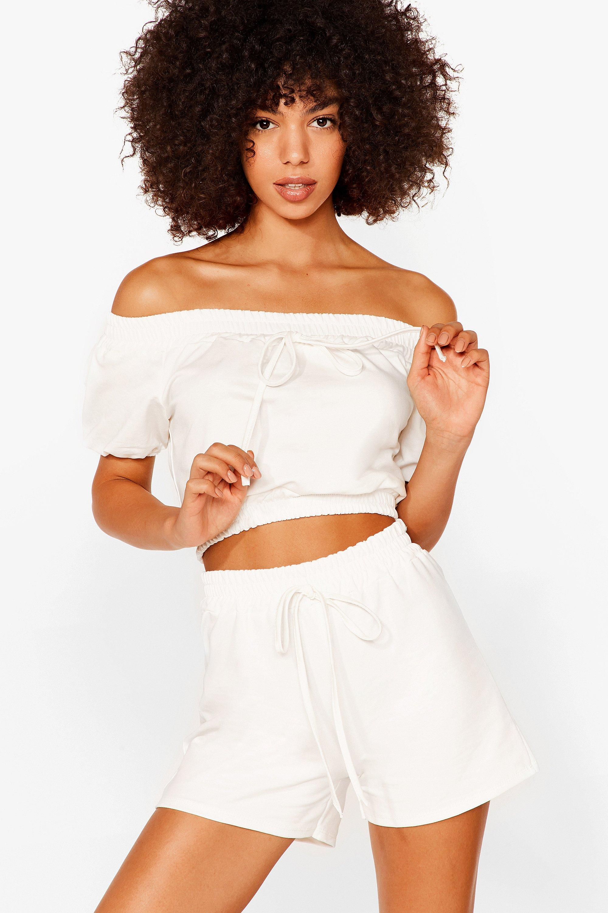 Image of Womens Day Off-the-Shoulder Crop Top and Shorts Set - White