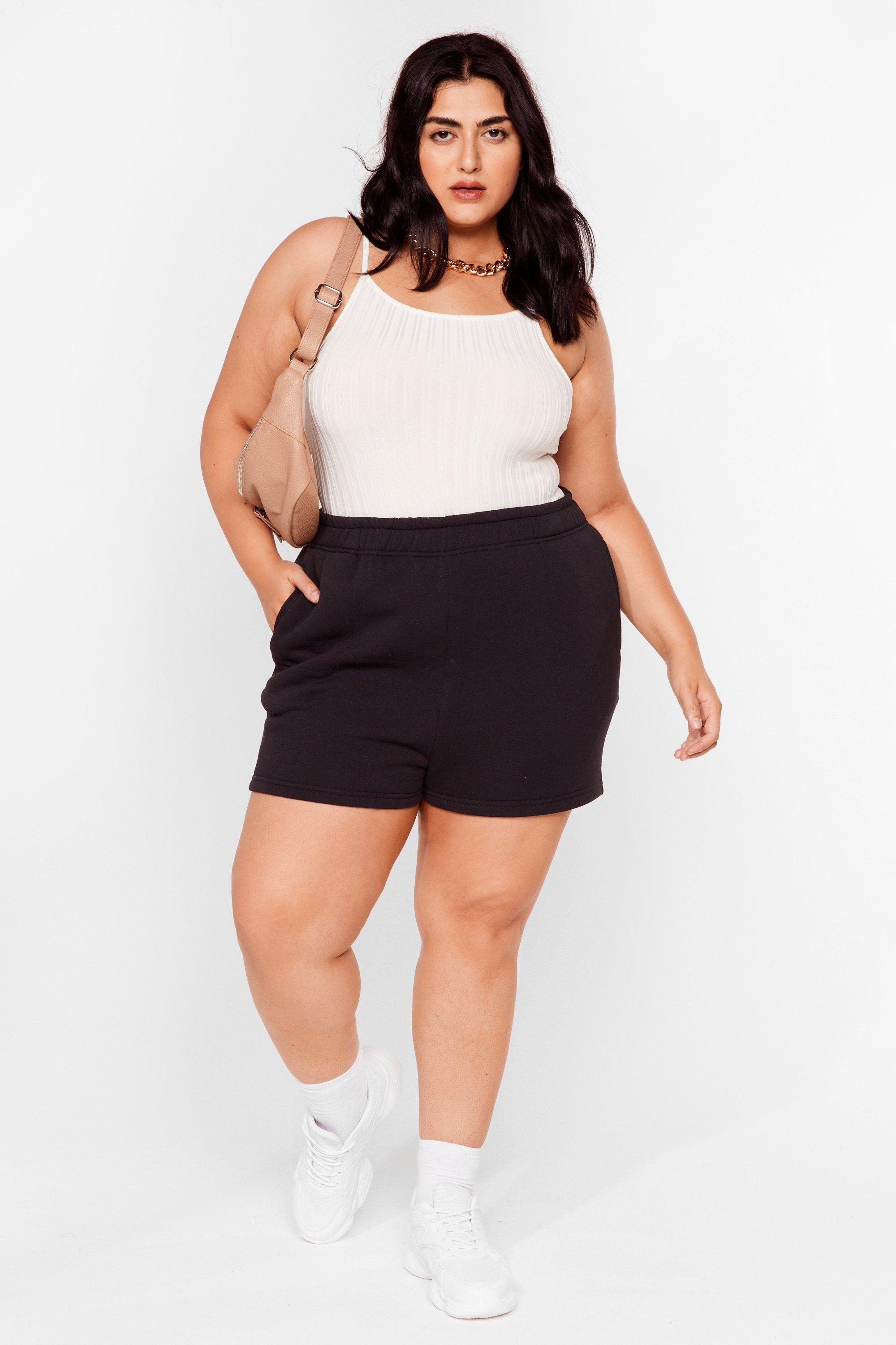 Image of Womens Need You Now Plus Jogger Shorts - Black