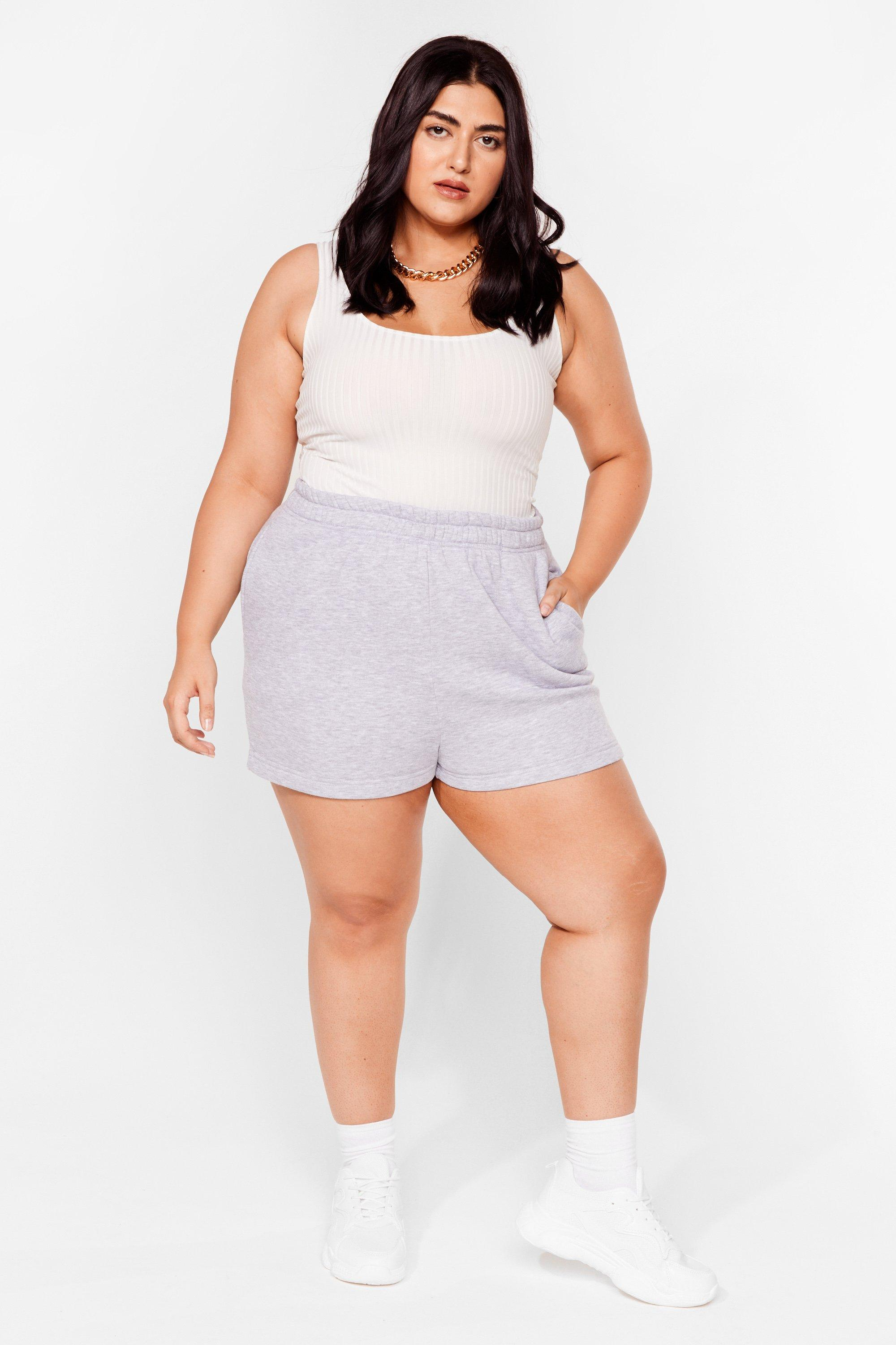 Image of Womens Need You Now Plus Jogger Shorts - Grey Marl