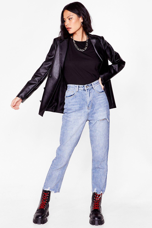 Image of Womens Leave Hem Behind Distressed Mom Jeans - Light Blue