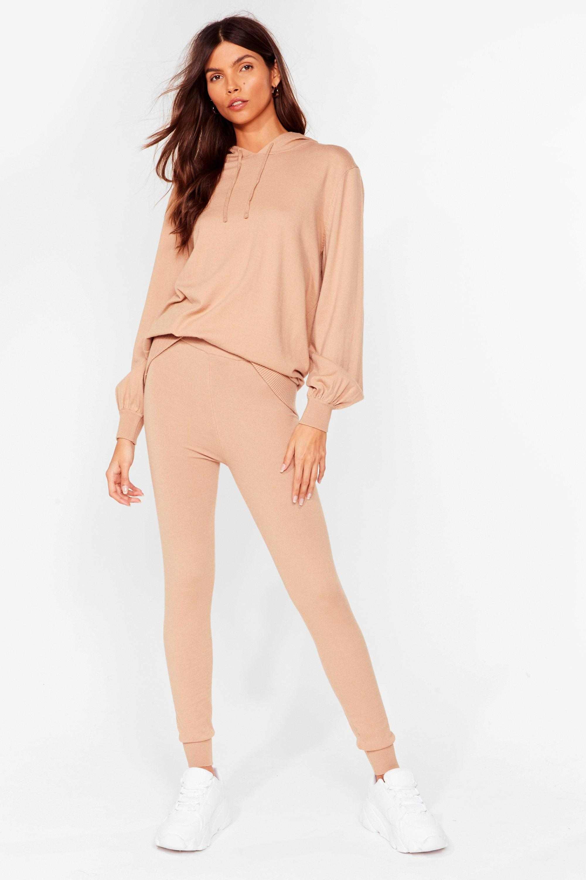 Image of Womens Leave 'Em to Knit Hoodie and Leggings Lounge Set - Camel