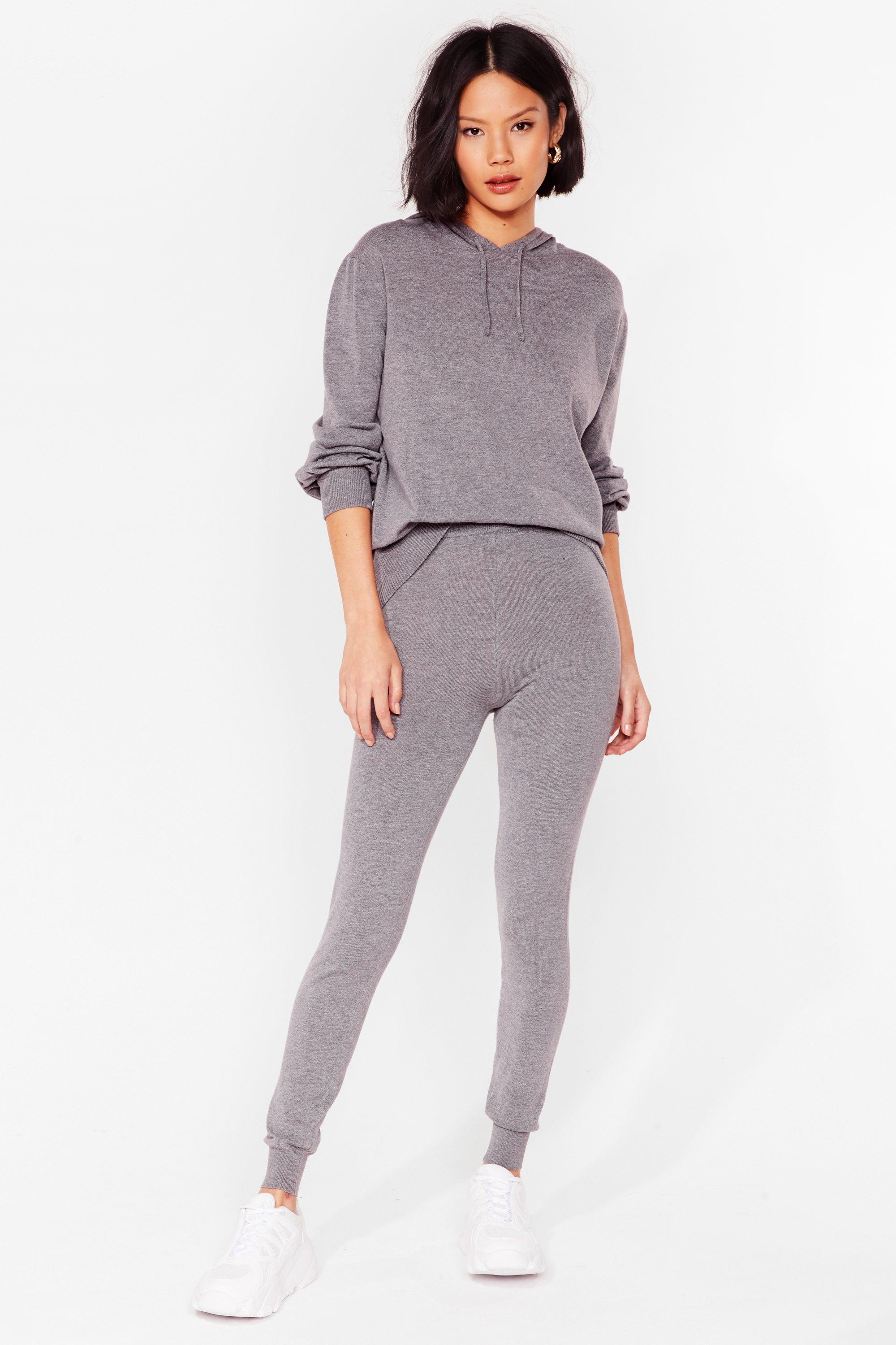 Image of Womens Leave 'Em to Knit Hoodie and Leggings Lounge Set - Grey