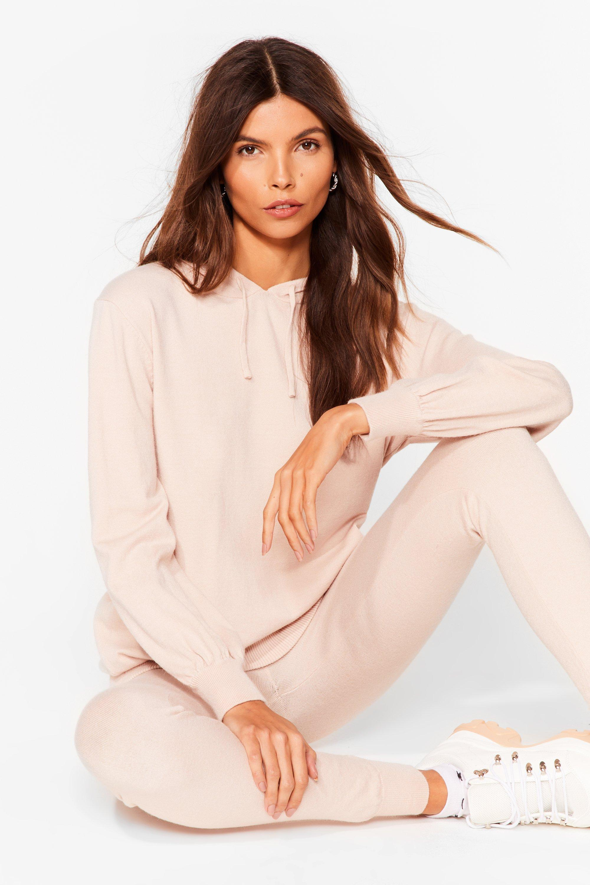 Image of Womens Leave 'Em to Knit Hoodie and Leggings Lounge Set - Oyster