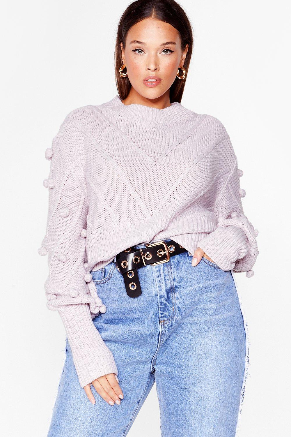 Image of Womens Such a Baller Plus Pom Pom Knit Sweater - Lilac