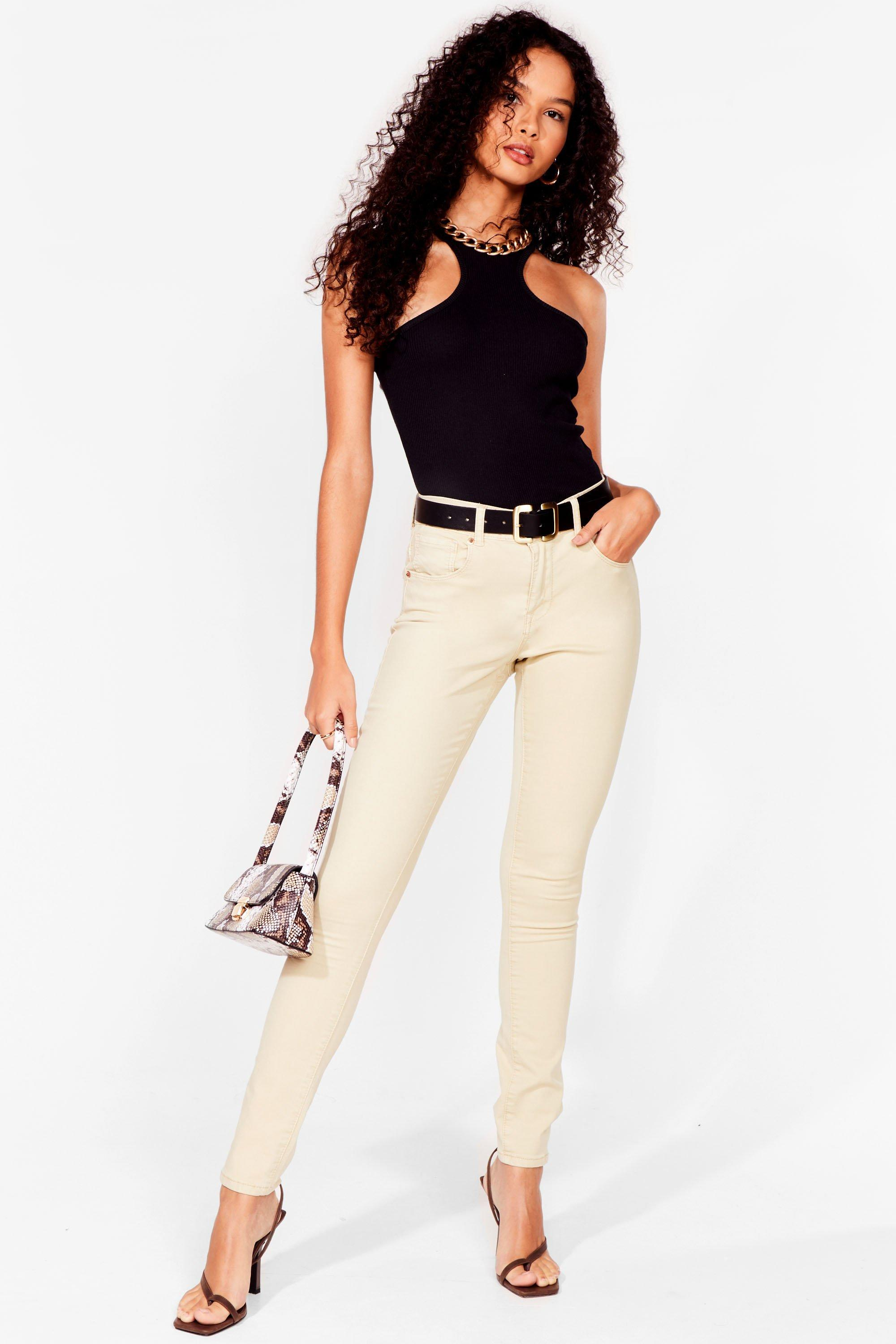 Image of Womens Button It Mid-Rise Skinny Jeans - Beige
