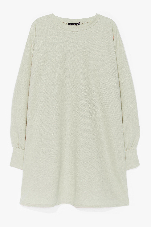 Image of Womens Oh Wait a Mini Plus Sweatshirt Dress - Sage