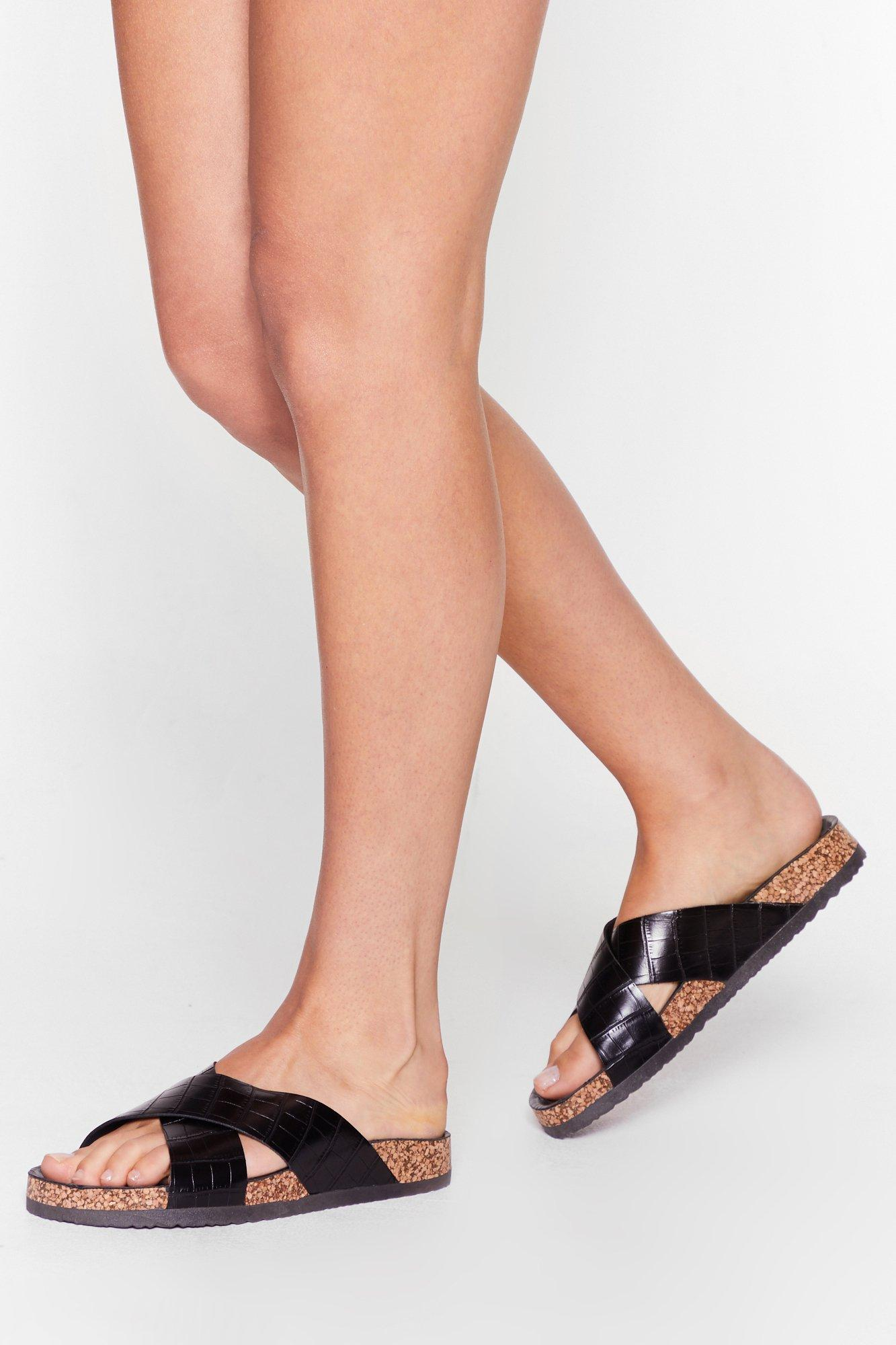 Image of Womens One Strap Mind Faux Leather Croc Sandals - Black
