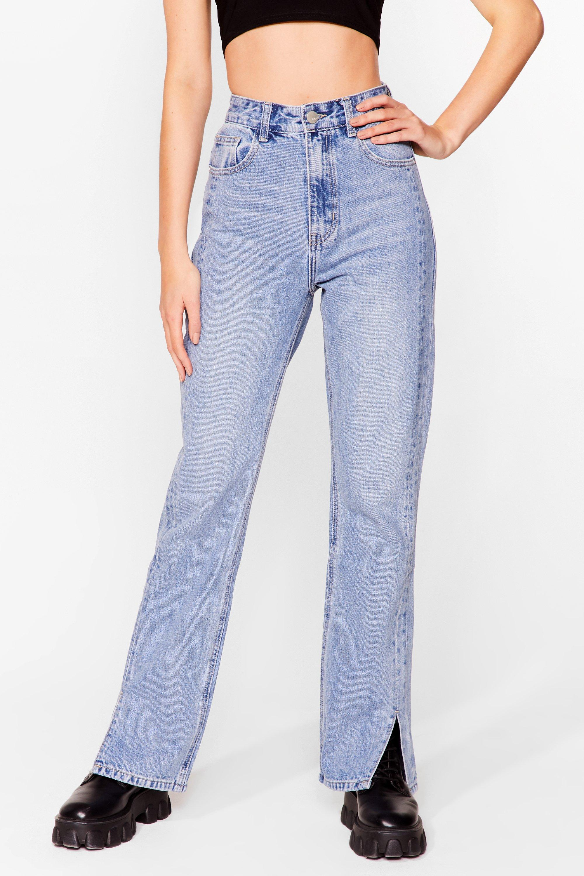 Image of Womens Slits Down to You High-Waisted Straight Leg Jeans - Blue