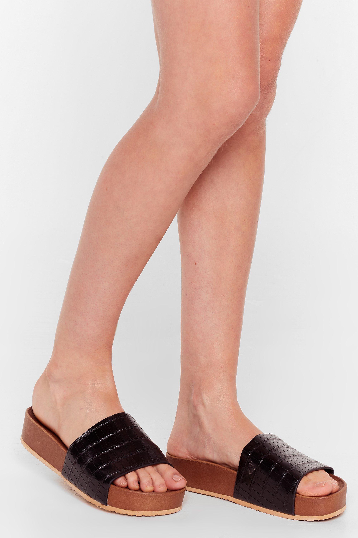 Image of Womens Croc By Sometime Faux Leather Platform Sandals - Black