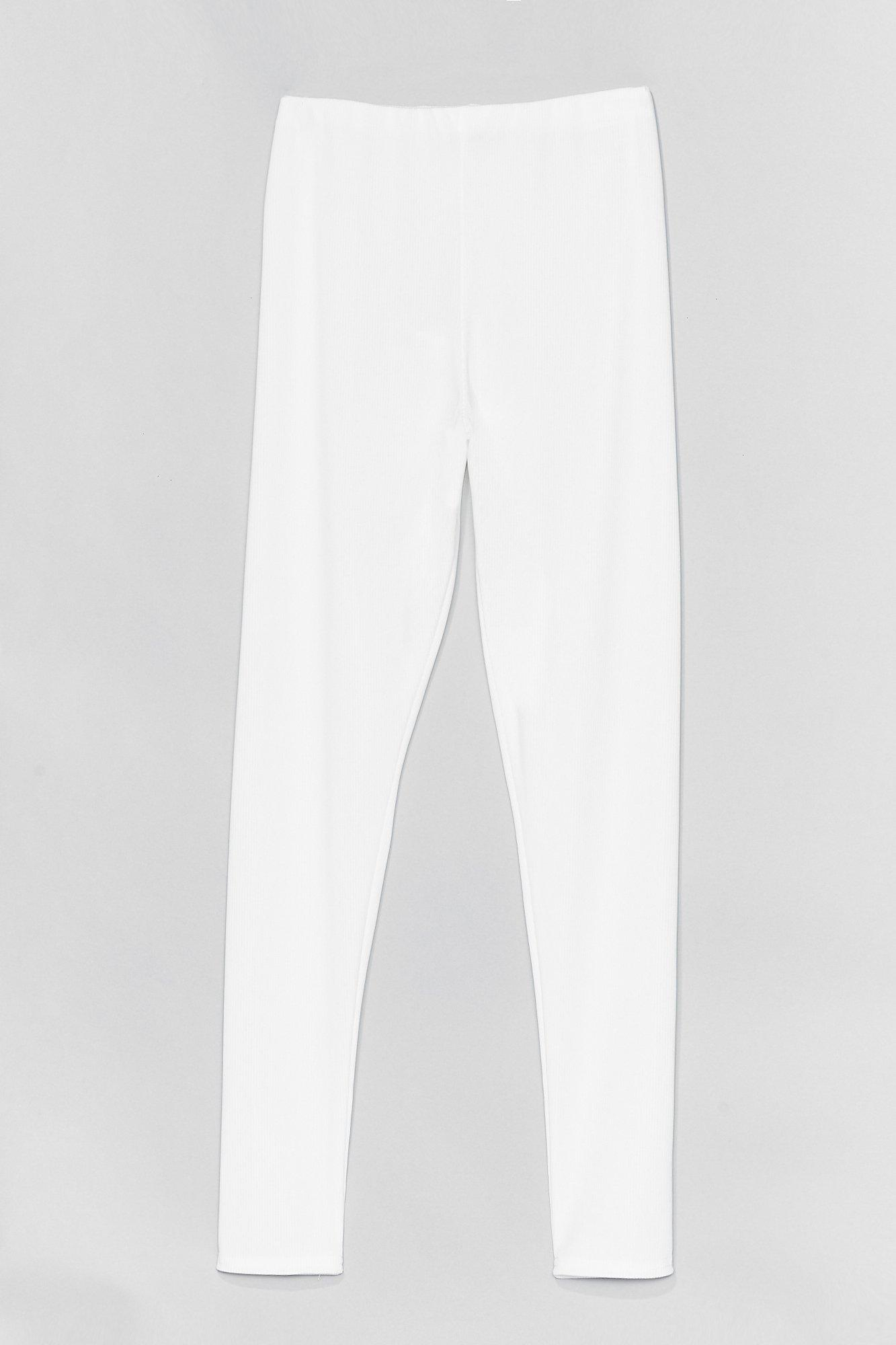 Image of Womens Rib Love High-Waisted Leggings - White