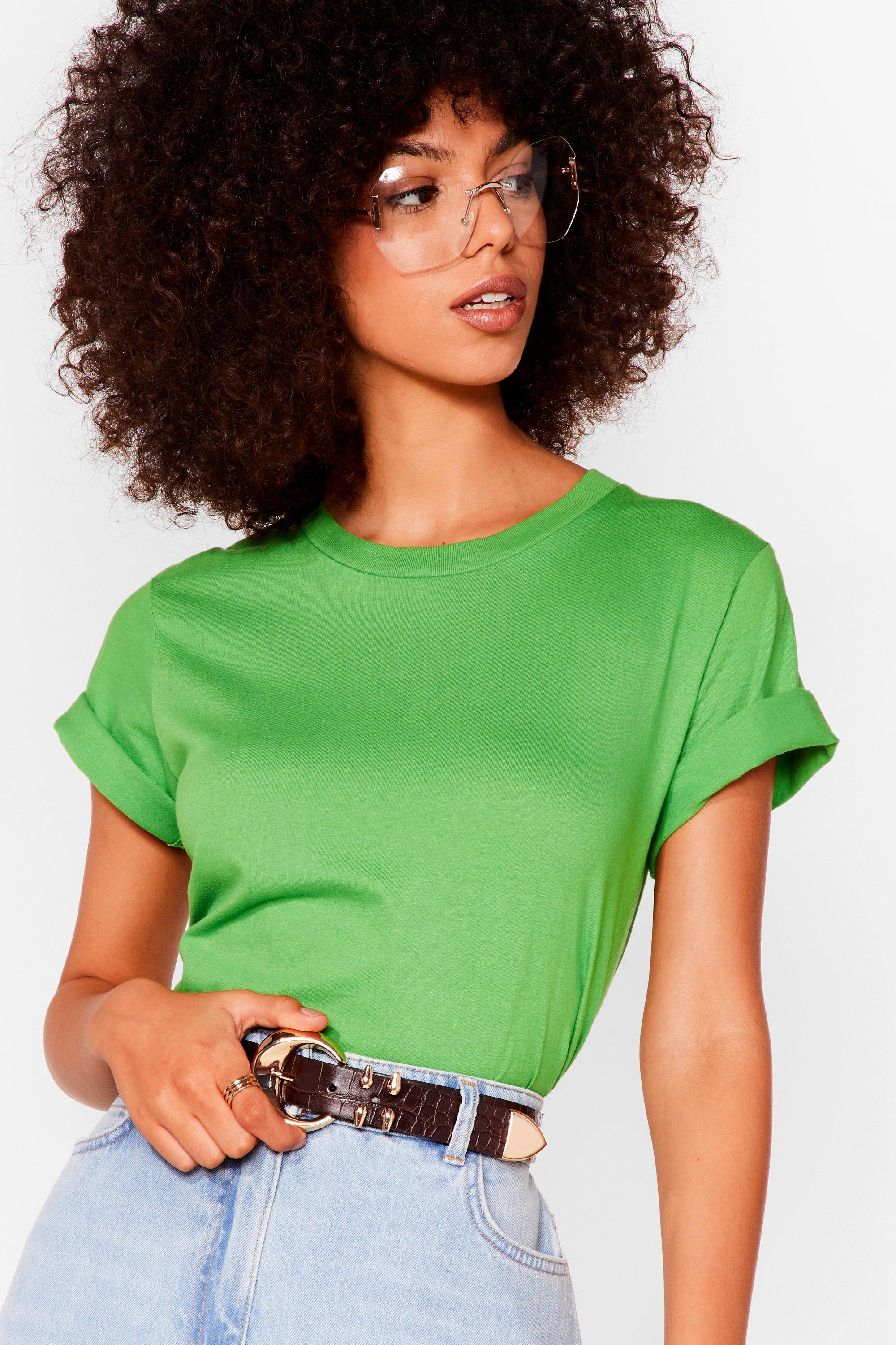 Image of Womens Face the Facts Relaxed Tee - Green