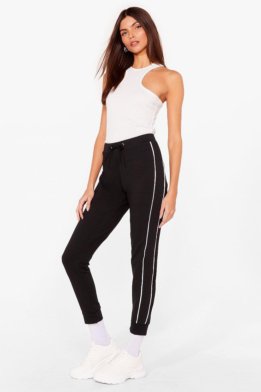Image of Womens Blurred Lines Relaxed Side Stripe Joggers - Black