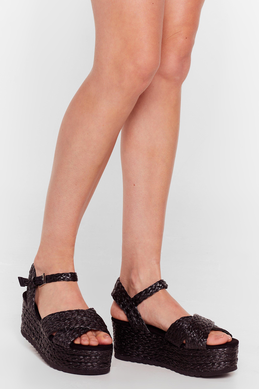 Image of Womens Platform a Circle Woven Sandals - Black