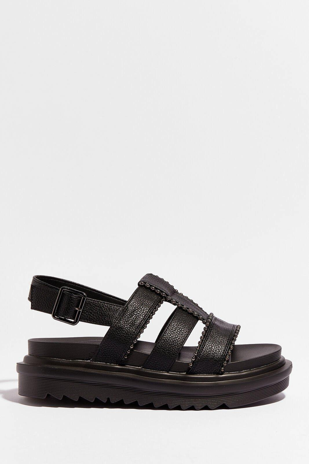 Image of Womens Strap to Reality Faux Leather Chunky Sandals - Black