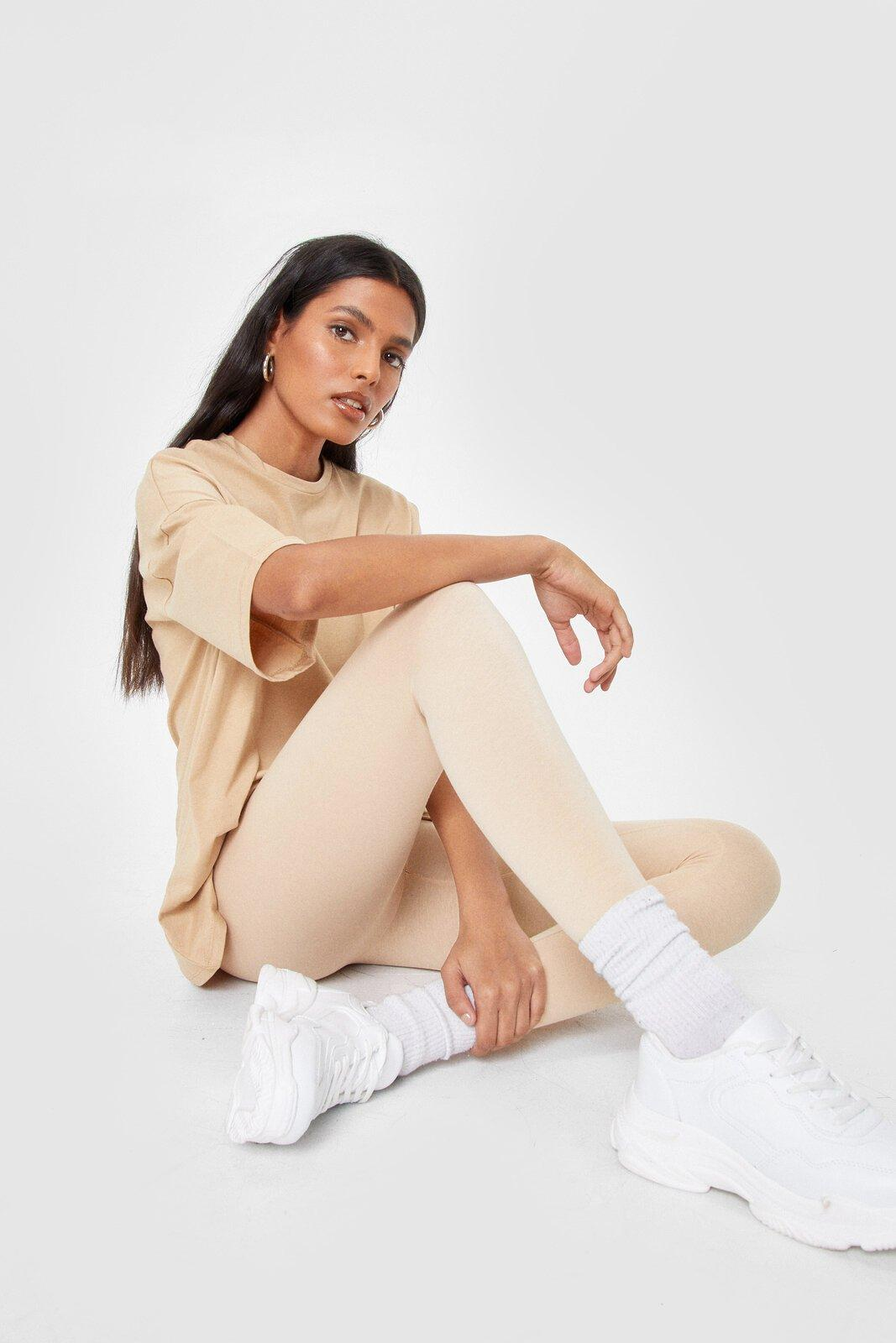 Image of Womens And Relax Oversized Tee and Leggings Set - Sand