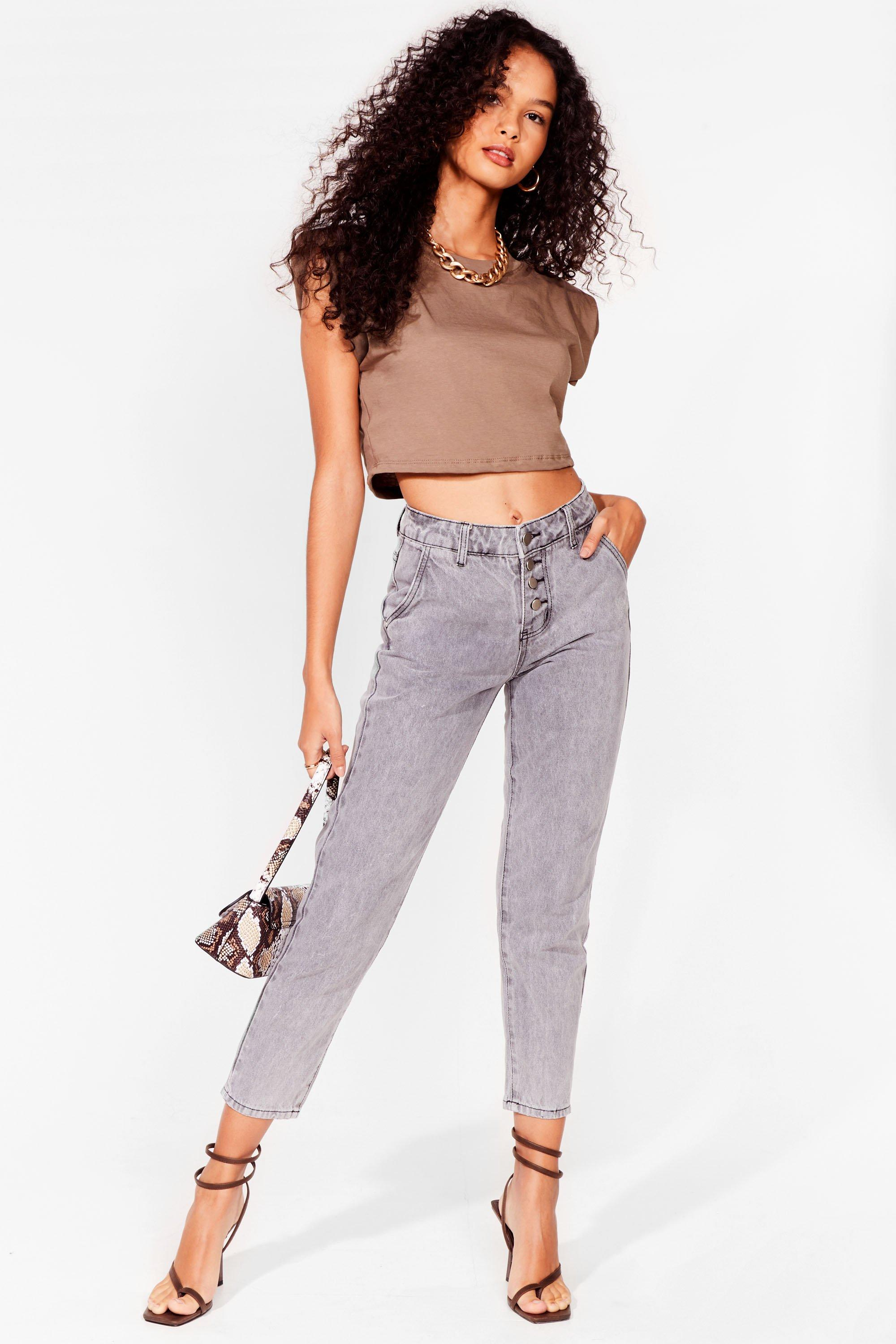 Image of Womens It Don't Jean a Thing High-Waisted Mom Jeans - Grey