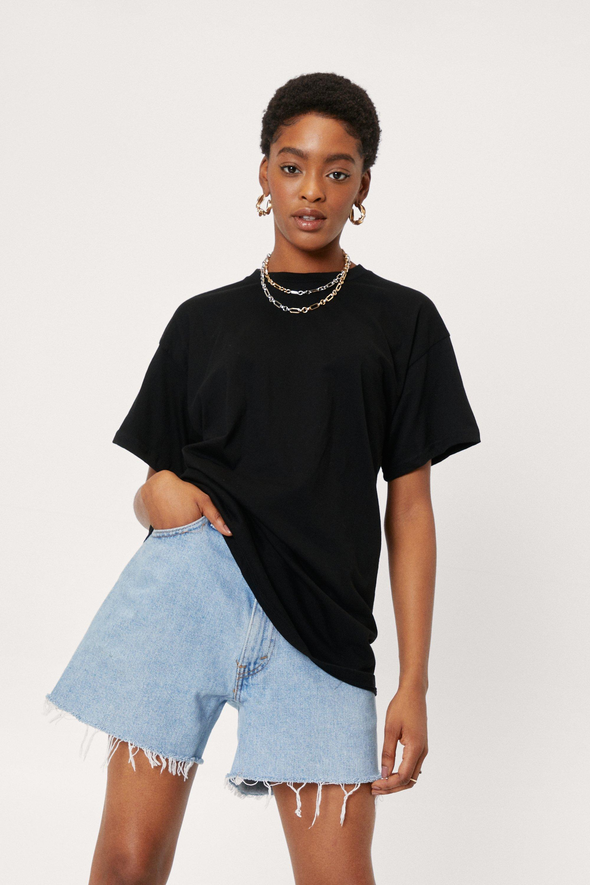 Image of Womens Face the Facts Relaxed Tee - Black