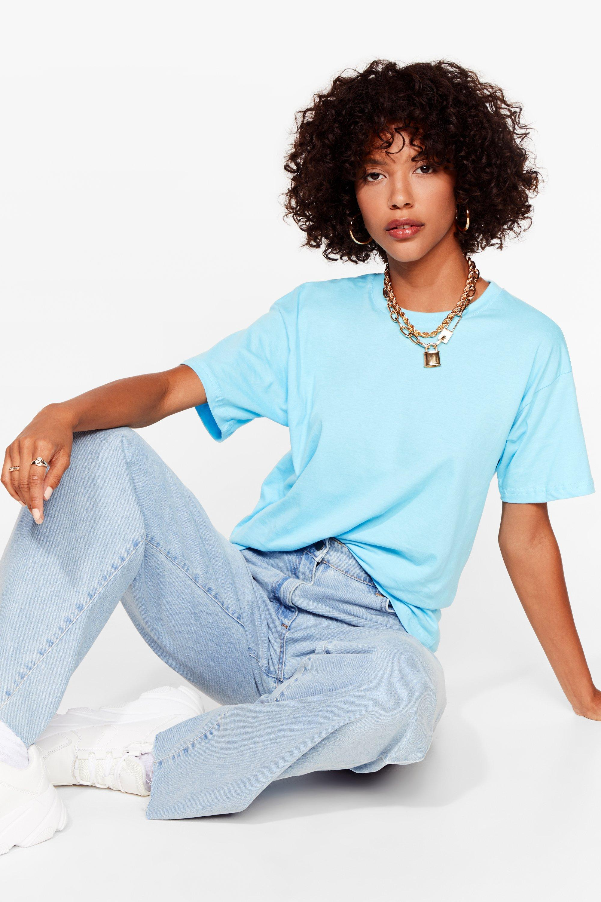 Image of Womens Face the Facts Relaxed Tee - Blue