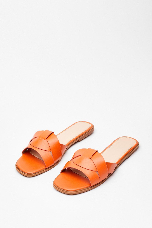 Image of Womens Back Flat It Faux Leather Sandals - Orange