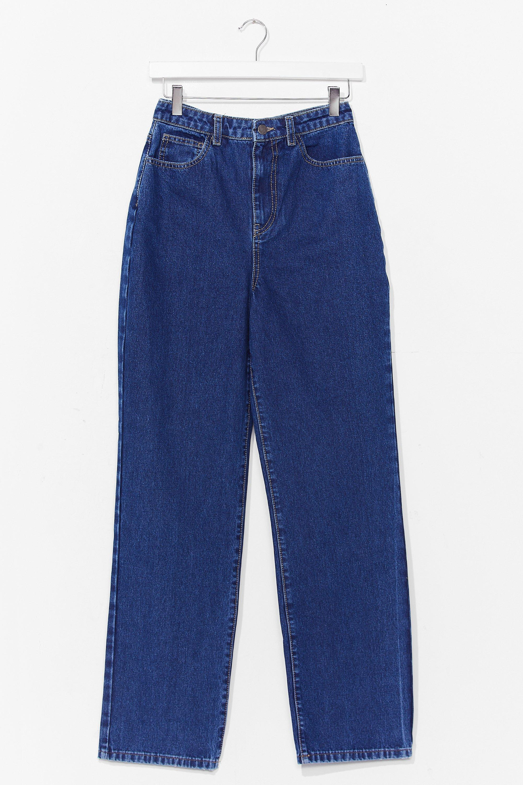 Image of Womens A Real Straight Leg High-Waisted Jeans - Dark Blue