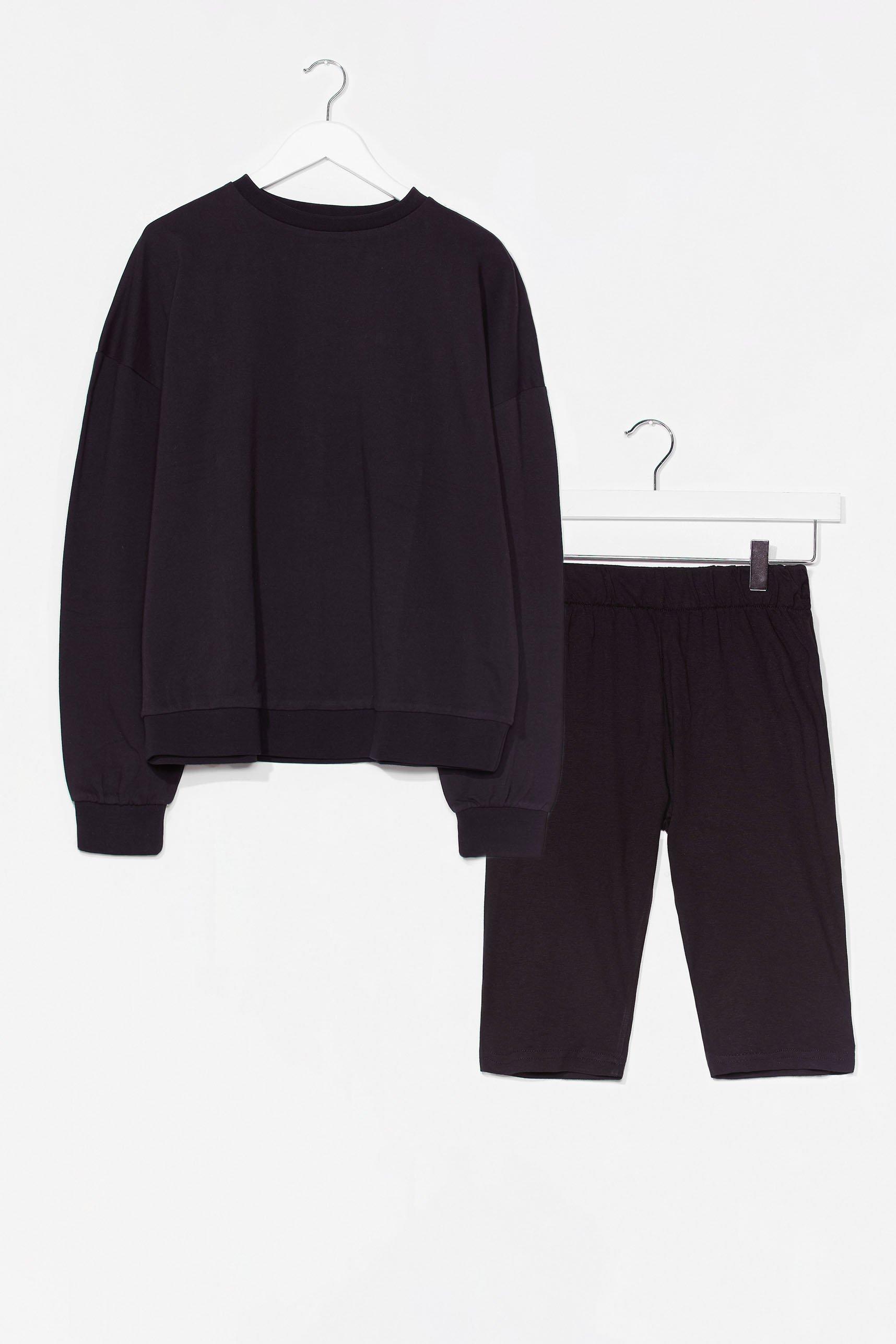 Image of Womens All Together Now Sweatshirt and Biker Short Set - Black
