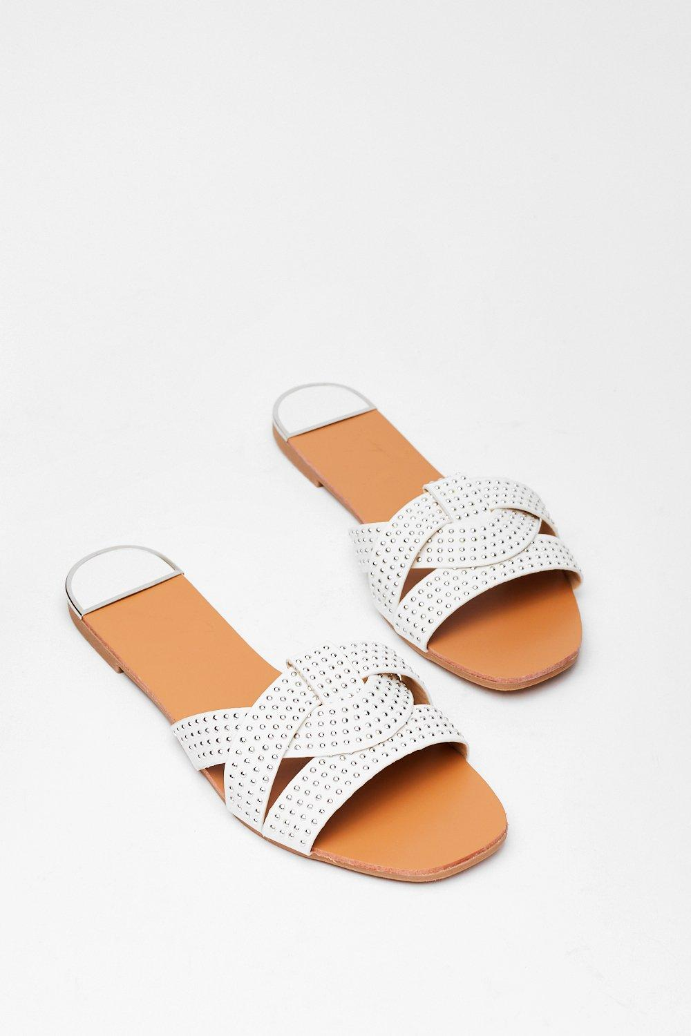Image of Womens Stud Never Look Back Faux Leather Flat Sandals - White